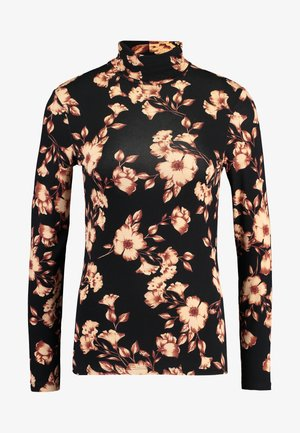 FLORAL PRINT ROLL NECK - Topper langermet - black