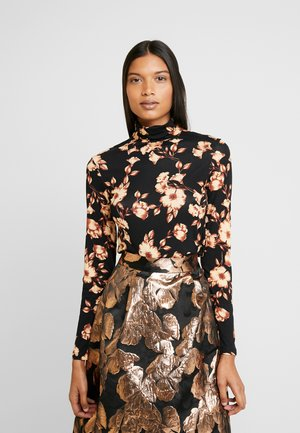 FLORAL PRINT ROLL NECK - Long sleeved top - black