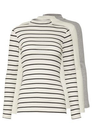 FUNNEL NECK STRIPE 3 PACK - Topper langermet - white/grey