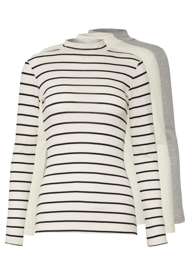FUNNEL NECK STRIPE 3 PACK - Bluzka z długim rękawem - white/grey