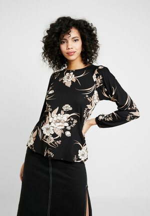 PUFF SLEEVE FLORAL - Camiseta de manga larga - black