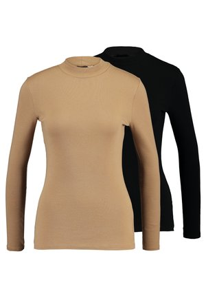 FUNNEL NECK 2 PACK - Long sleeved top - camel