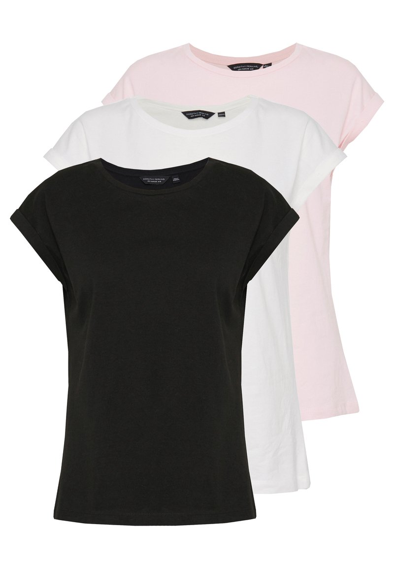 Dorothy Perkins - ROLL SLEEVE TEE 3 PACK - T-shirt print - multi