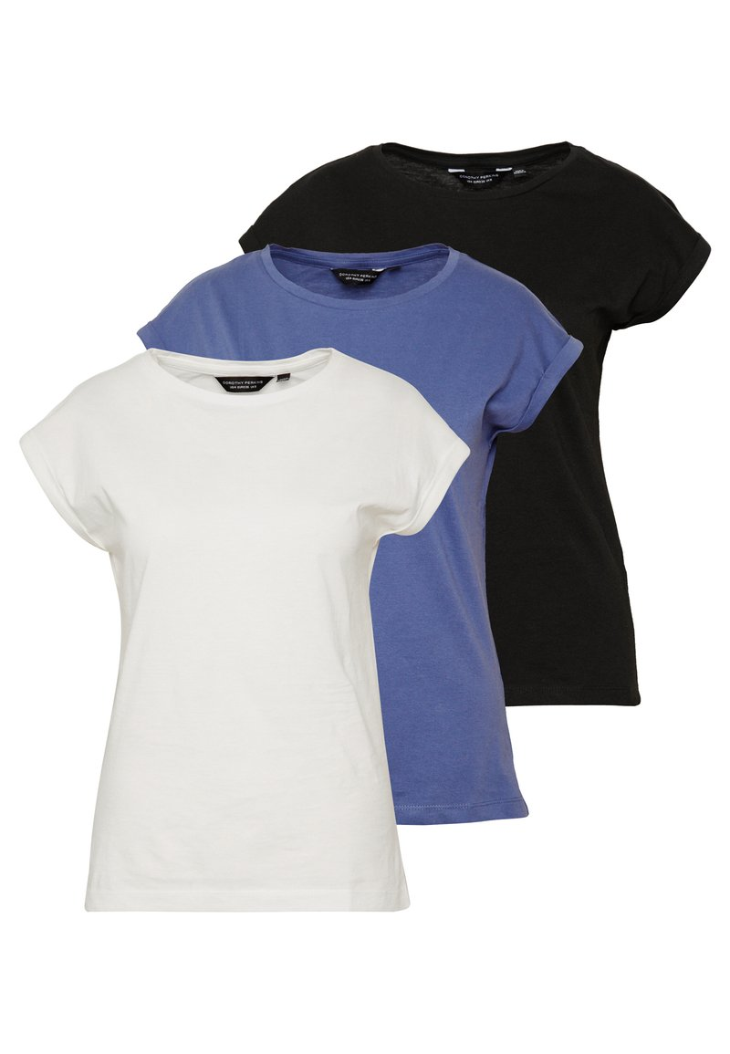 Dorothy Perkins - ROLL SLEEVE ORGANIC TEE 3 PACK - T-shirt basic - black/ white/ blue
