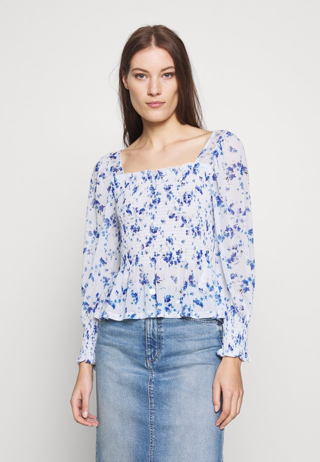 SHIRRED POWER FLORAL SQUARE NECK - Pusero - blue