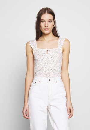 DITSY TIE FRONT VEST - Topper - ivory