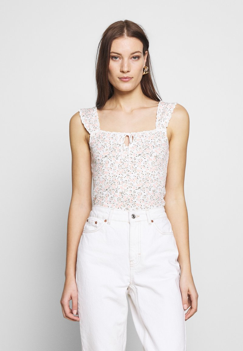 Dorothy Perkins - DITSY TIE FRONT VEST - Topper - ivory