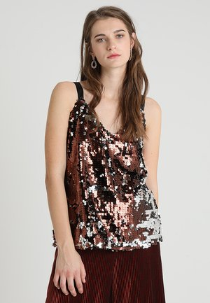 SEQUIN CAMI - Topper - chocolate