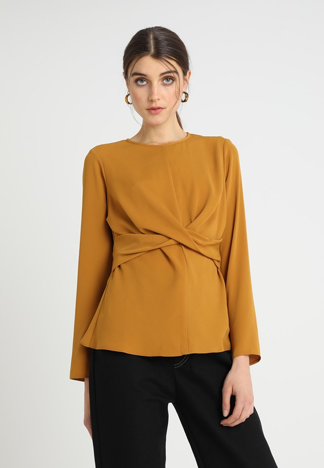 WRAP FRONT - Blouse - mustard/yellow