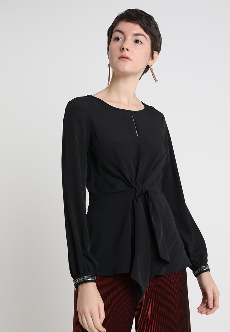 Dorothy Perkins - TIE FRONT TRIM CUFF LONG SLEEVE - Bluser - black