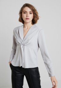 Dorothy Perkins - KNOT FRONT LONG SLEEVE - Blouse - silver - 0