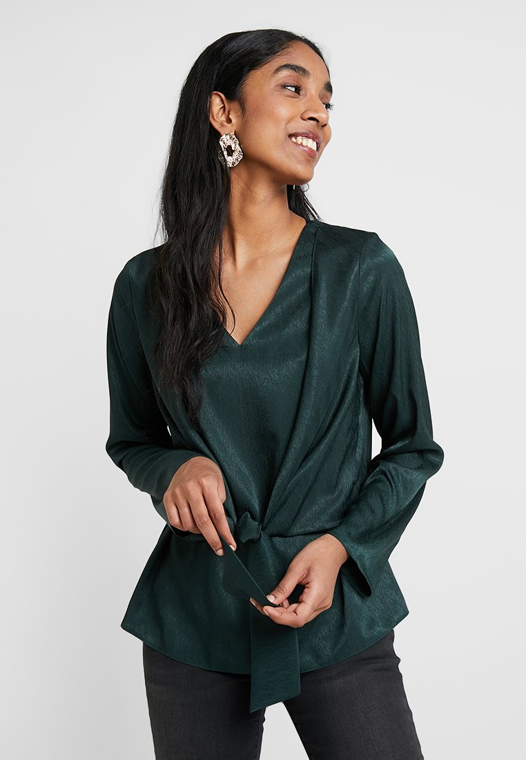 Dorothy Perkins - KNOT FRONT LONG SLEEVE - Bluse - green