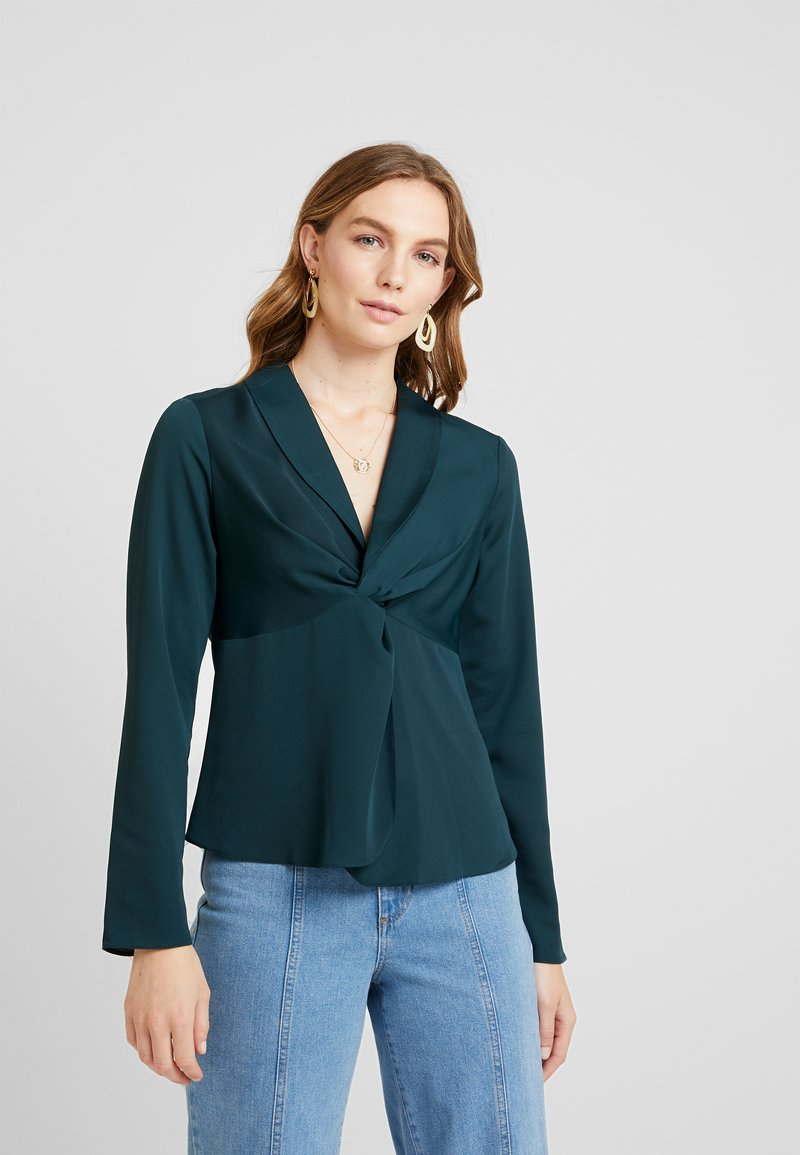 Dorothy Perkins - KNOT FRONT LONG SLEEVE - Blouse - dark green