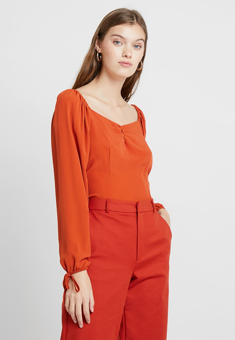 Dorothy Perkins - SQUARE NECK - Blouse - rust