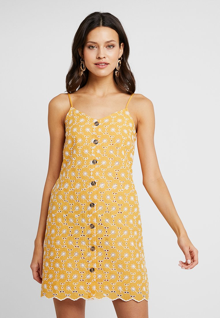 Dorothy Perkins - ALL OVER BRODERIE CAMI DRESS - Vestido camisero - light yellow