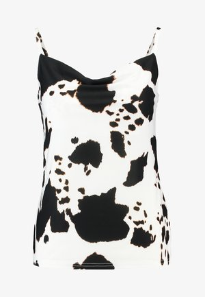 COW PRINT COWL NECK CAMI - Débardeur - white/black