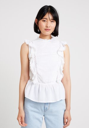 PINTUCK FRILL FRONT VICTORIANA - Bluse - white