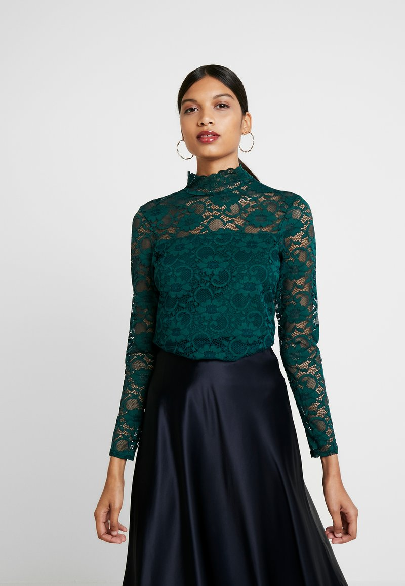 Dorothy Perkins - HIGH NECK - Blus - forest green
