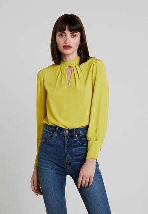 PLAIN PLEAT NECK LONG SLEEVE - Bluzka - lime