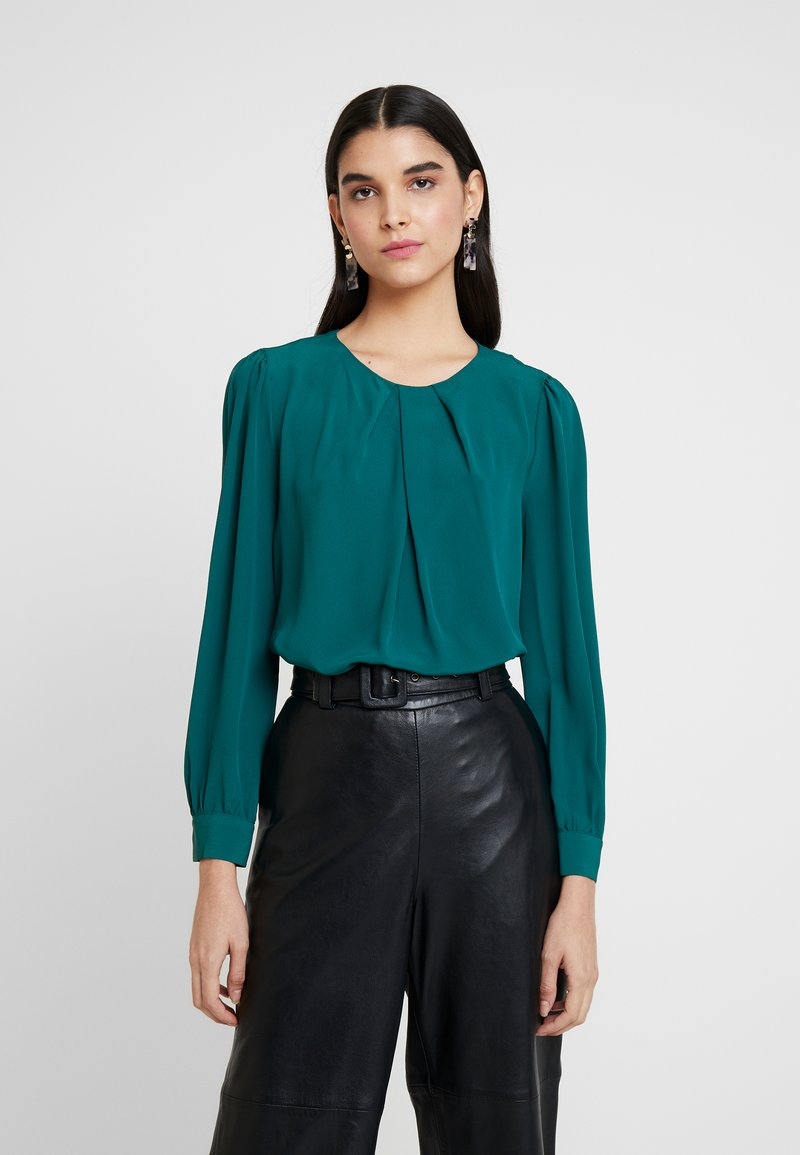 Dorothy Perkins - PLEAT NECK PENNY - Blusa - plain forest green