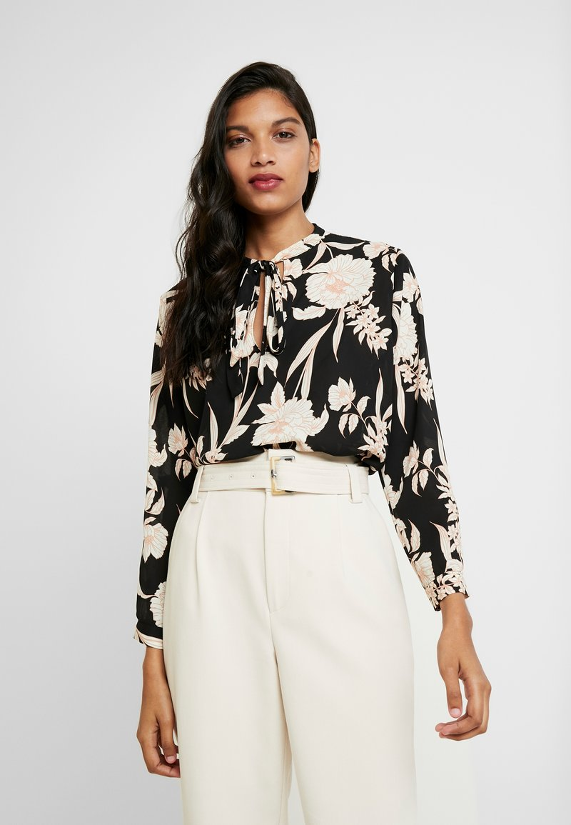 Dorothy Perkins - FLORAL TIE NECK BATWING - Blouse - black/white