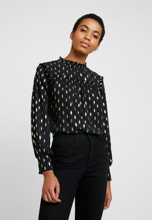 SHEERED LONG SLEEVE  - Blouse - black