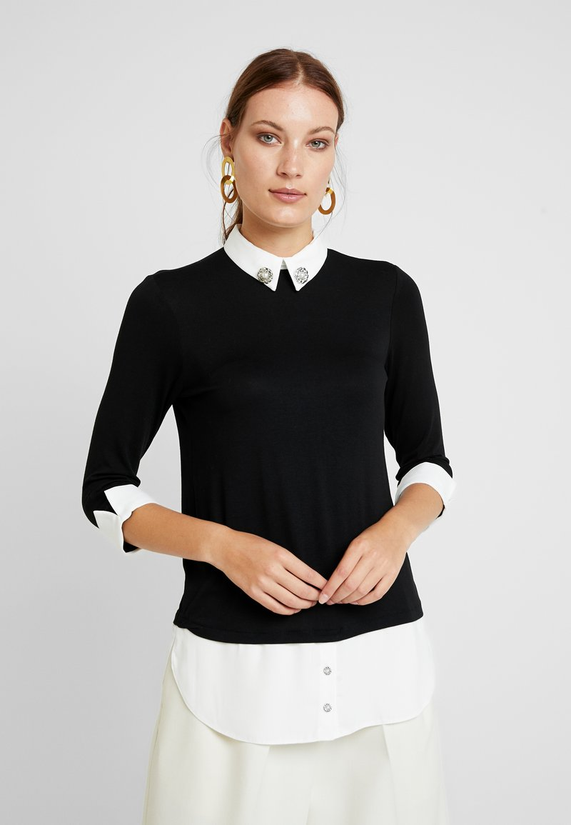 Dorothy Perkins - EMBELLISHED 2IN1 - Long sleeved top - black