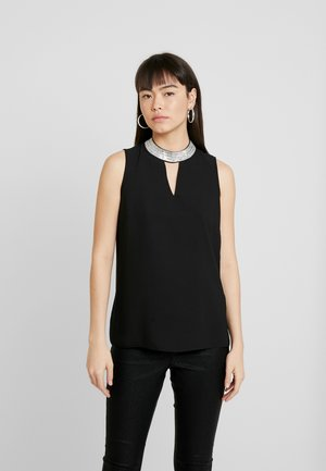 EMBELLISHED NECK SLEEVELESS - Bluse - black
