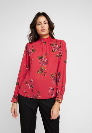 FLORAL SHIRRED NECK - Bluser - red