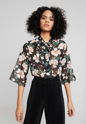 FOIL FLORAL PUSSYBOW BODY - Blouse - black