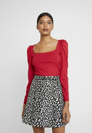 LOLA SKYE SQUARE NECK PUFF SLEEVE - Long sleeved top - red