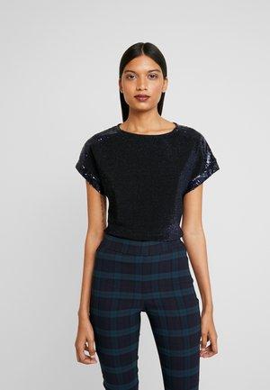 SEQUIN TEE - T-Shirt print - navy