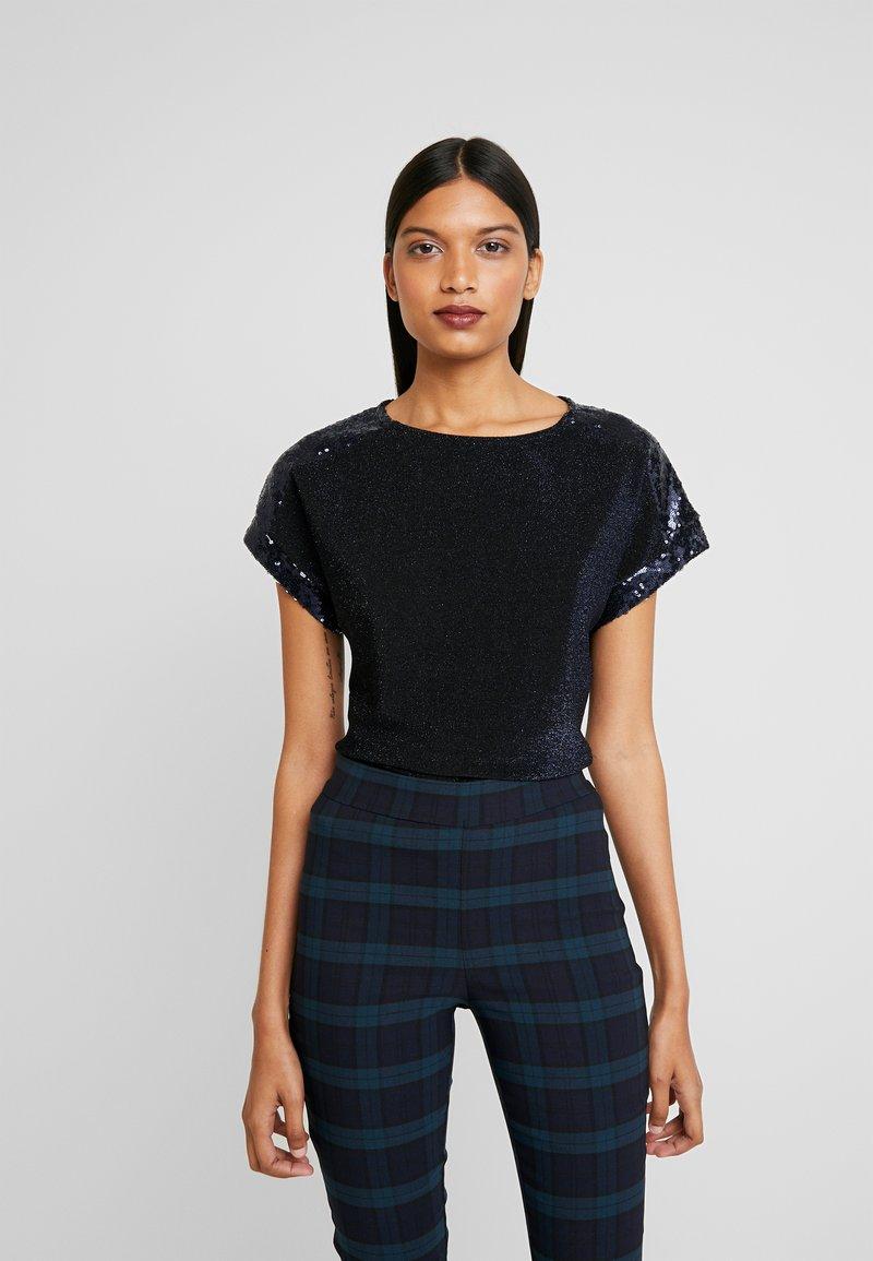 Dorothy Perkins - SEQUIN TEE - Print T-shirt - navy