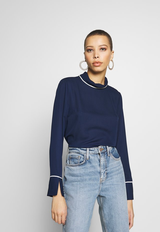 FOLD NECK CONTRAST - Camicetta - navy
