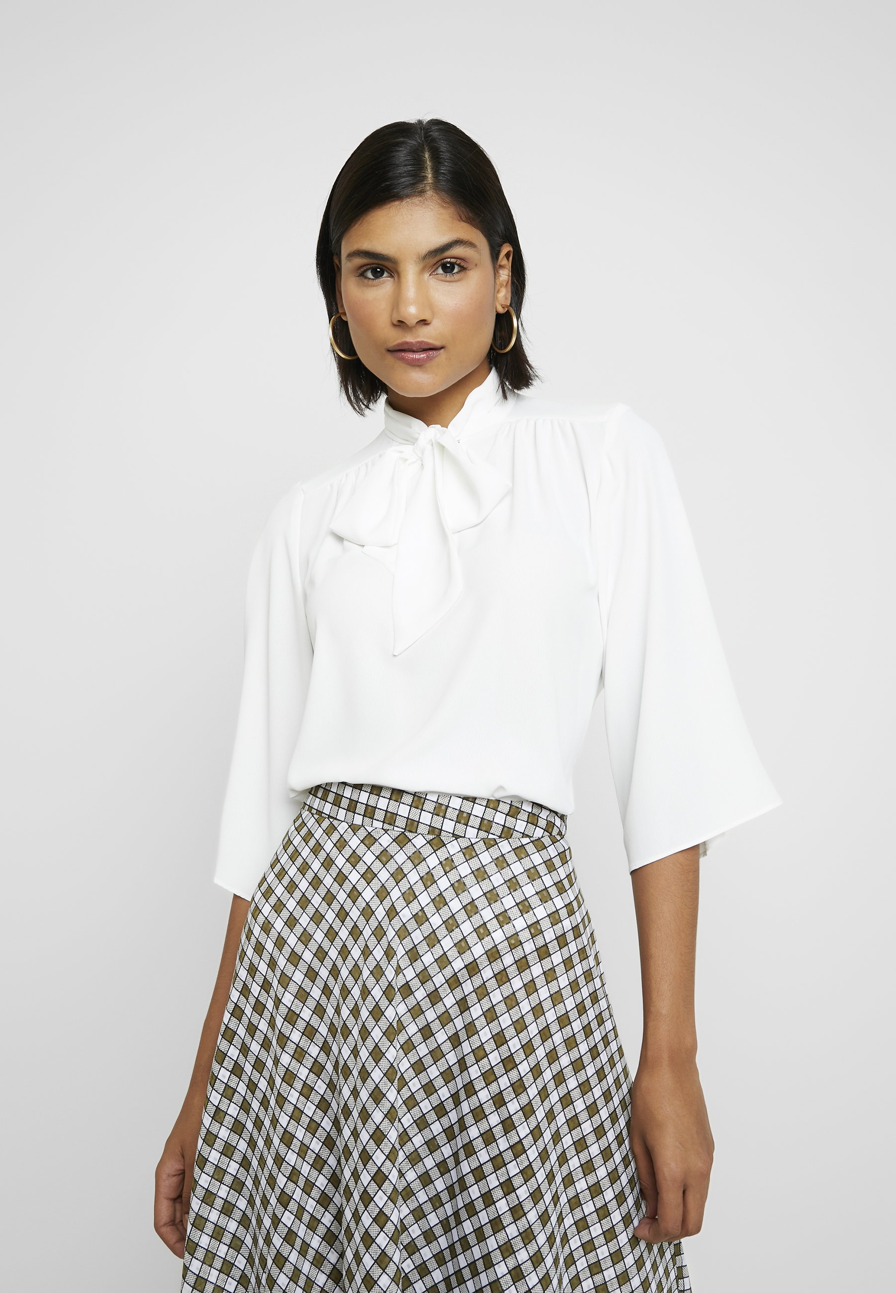 Dorothy Perkins PUSSYBOW TIE NECK 3/4 SLEEVE - Bluser - ivory