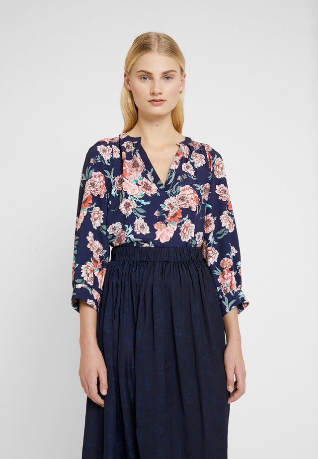 FLORAL BALLOON SLEEVE - Bluzka - navy