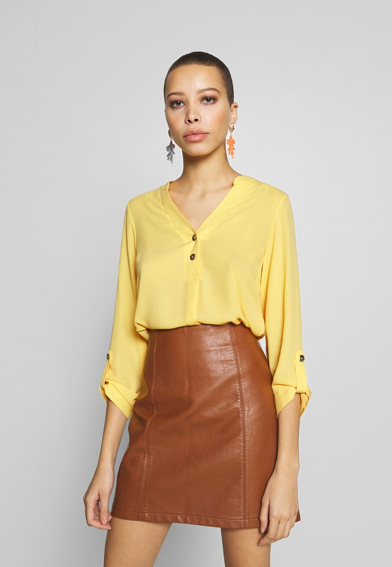 Dorothy Perkins - DOUBLE BUTTON COLLARLESS ROLL SLEEVE - Bluser - yellow