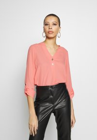 Dorothy Perkins - DOUBLE BUTTON COLLARLESS ROLL SLEEVE - Bluser - dark rose - 0