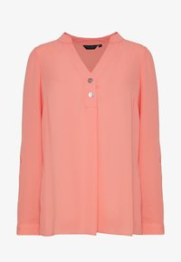 Dorothy Perkins - DOUBLE BUTTON COLLARLESS ROLL SLEEVE - Bluser - dark rose - 4