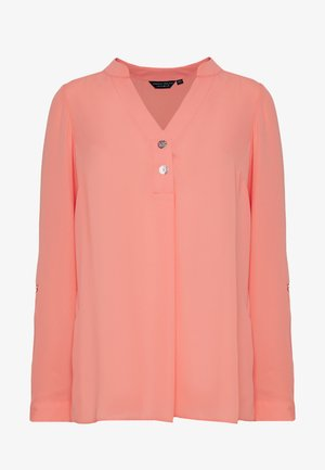DOUBLE BUTTON COLLARLESS ROLL SLEEVE - Blouse - dark rose