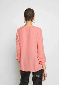 Dorothy Perkins - DOUBLE BUTTON COLLARLESS ROLL SLEEVE - Bluzka - dark rose
