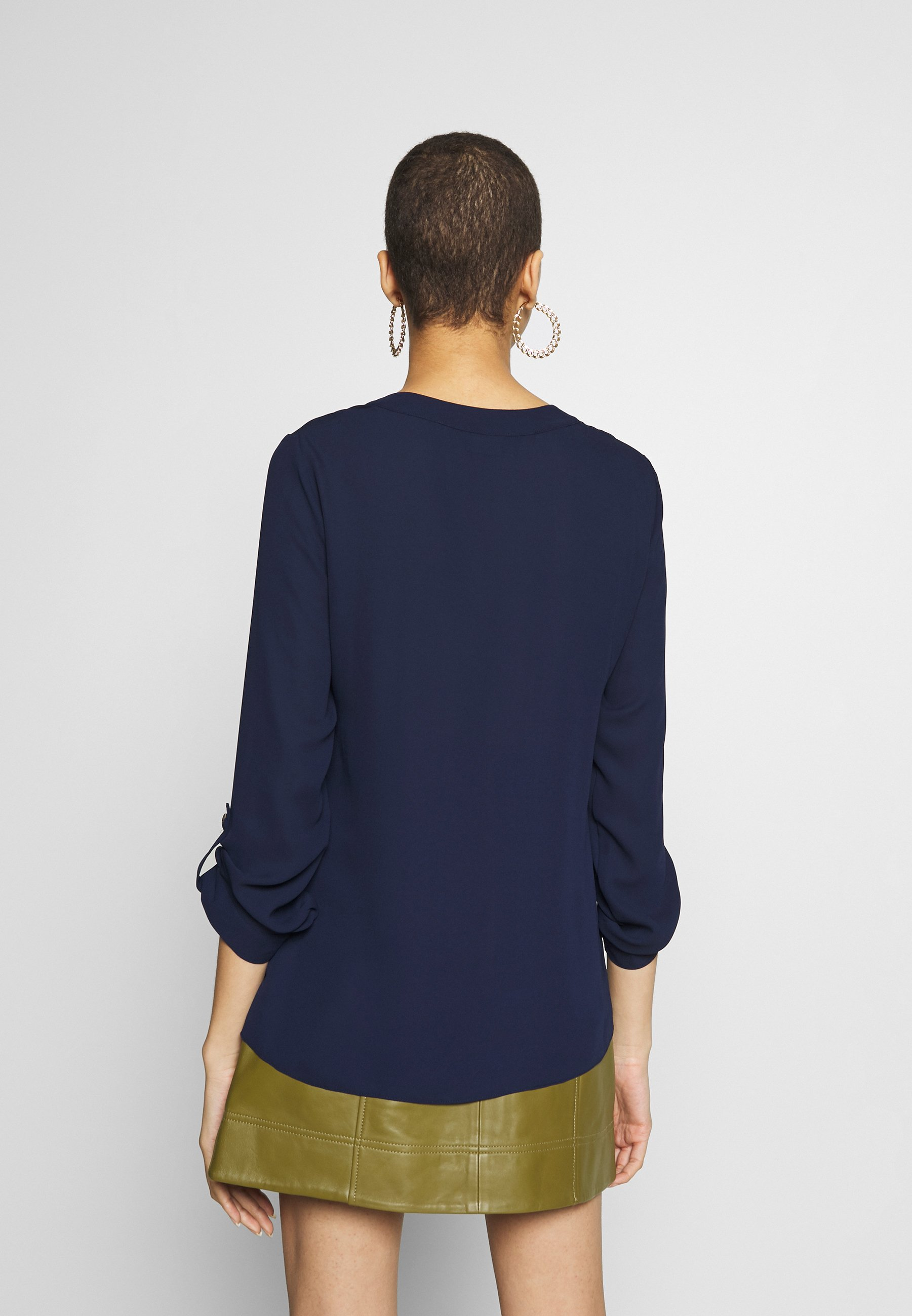 Dorothy Perkins DOUBLE BUTTON COLLARLESS ROLL SLEEVE - Bluser - navy