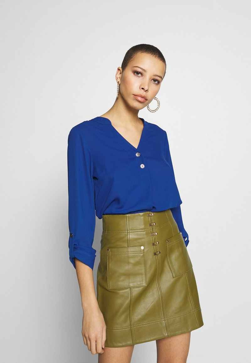 Dorothy Perkins - DOUBLE BUTTON COLLARLESS ROLL SLEEVE - Blouse - cobalt