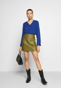 Dorothy Perkins - DOUBLE BUTTON COLLARLESS ROLL SLEEVE - Blouse - cobalt - 1