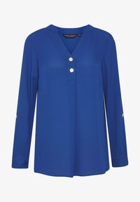 Dorothy Perkins - DOUBLE BUTTON COLLARLESS ROLL SLEEVE - Blouse - cobalt - 4