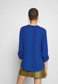 Dorothy Perkins - DOUBLE BUTTON COLLARLESS ROLL SLEEVE - Blouse - cobalt - 2
