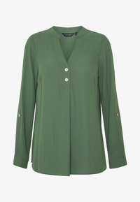 Dorothy Perkins - DOUBLE BUTTON COLLARLESS ROLL SLEEVE - Blouse - khaki - 4