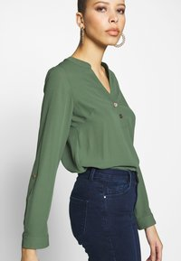 Dorothy Perkins - DOUBLE BUTTON COLLARLESS ROLL SLEEVE - Blouse - khaki - 3