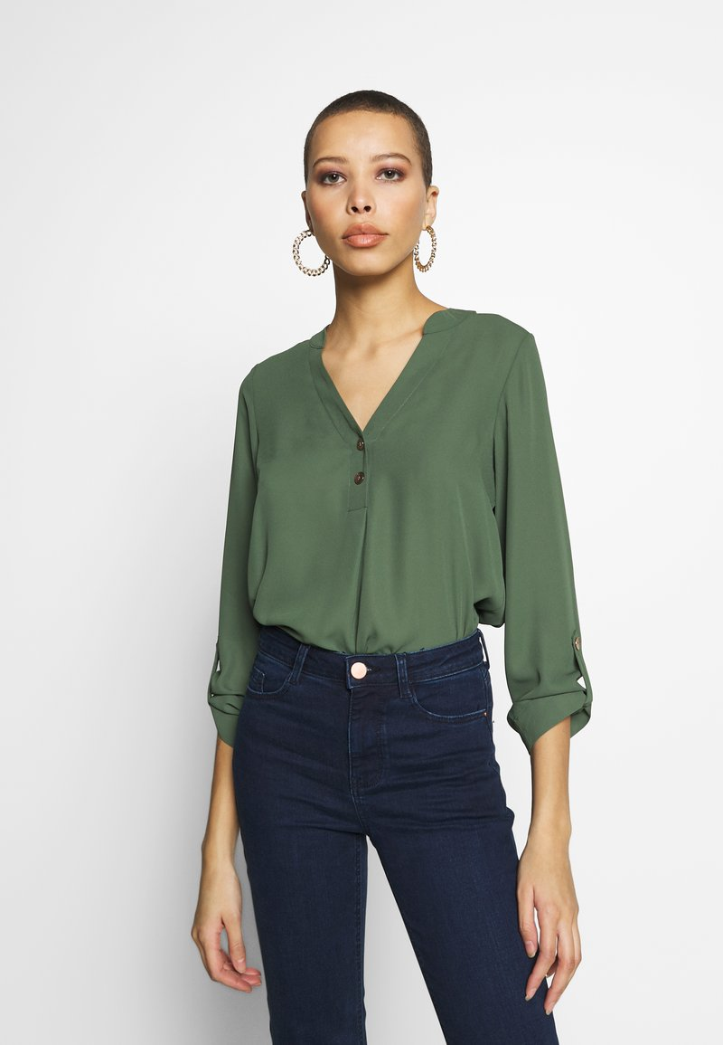 Dorothy Perkins - DOUBLE BUTTON COLLARLESS ROLL SLEEVE - Blouse - khaki