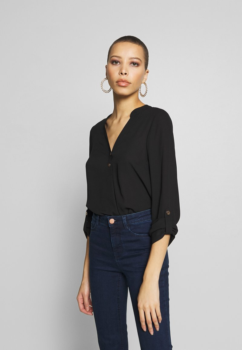 Dorothy Perkins - DOUBLE BUTTON COLLARLESS ROLL SLEEVE - Blouse - black